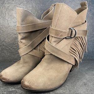Naughty Monkey Suede Fringe Western Boots